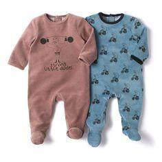 Lote de 2 babygrows em veludo R Baby | La Redoute