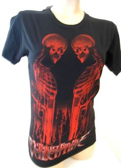 Bullet For My Valentine Tee Hot Topic Fitted Black Red Skull Gun Women's XS NWT