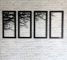 Wall decor Laser cutting metal wall art home bed room decor. Tree Branch Framed. DIMENSION : 60 x 30 cm per pcs, 4 pcs per set. hope you could understand. | eBay!
