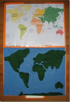 Kids learn to place the countries and continents on a felt map. They learn the shapes, size and space of different land masses through feel and visual means. GE2-4 & GE2-1