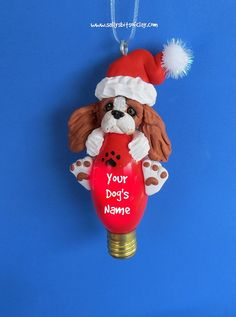 Blenheim Cavalier King Charles Spaniel Santa dog Christmas Light Bulb Ornament Sally's Bits of Clay PERSONALIZED FREE