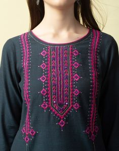 Astonishing Embroidery Hoop Crafts - make sure you visit our article for additional recommendations! Embroidery Suits Punjabi, Embroidery On Kurtis, Hand Embroidery Dress, Kurti Embroidery Design, Pakistani Fashion Casual, Pakistani Dress Design, Mirror Work Dress, Afghani Clothes, Balochi Dress