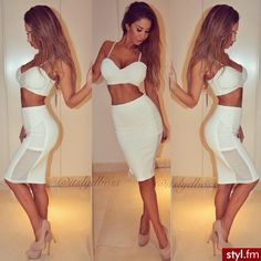 Going Out Outfit - Crop Top - Pencil Skirt - Nude Heels