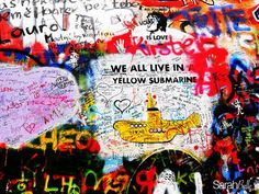 'yellow submarine' photograph placed on canvas. #graffiti