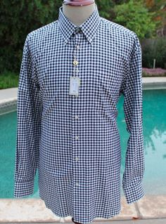 NWT $98.50Peter Millar Dress ShirtGingham Plaid size Large Oxford Collar Mens #PeterMillar