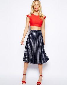 ASOS Spot Pleat Midi Skirt in Black/Creme.. gorgeous color!