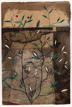 D-26.Apr.2016  25.5x16.8cm mixed media painting on the mono type printed Gampi paper,1985 HAYASHI Takahiko 林孝彦