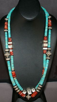 Turquoise, Silver, and Spiny Oyster necklace. What elegant pieces.