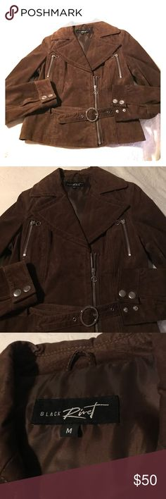 "Suede Moto Jacket Brown suede moto jacket by Black Rivet with zipper at front and breast pockets and suede belt at waist. 18"" pit to pit, 17"" at waist, 20"" shoulder to hem. EUC, maybe worn twice 🎬 Black Rivet Jackets & Coats"