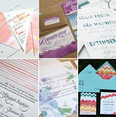 big fan of watercolor invites.  Love the one at bottom right.