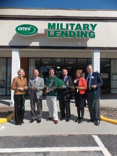"""On September 22nd Omni Financial's Petersburg, VA office officially opened its doors at its new location at 4229 Crossings Blvd.-Prince George, behind Starbucks, to serve the Soldiers of FT. LEE. Seen here is the """"Grand Opening"""" ribbon cutting ceremony held last Friday, October 12th. Holding the scissors is Jeff Heckert, General Manager of Omni Financial, flanked by several area dignitaries."""