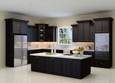 General Concept: Espresso cabinets, white counter top, white back splash and light tile flooring.
