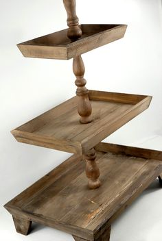 Three Tier Rustic Wood 34 in. Buffet Display $49 each/ 2 for $45 each