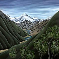 Diana Adams has always been enthusiastic about the landscape, initially as a landscape architect, and in recent years as a painter. Inspired by the rugged beauty of New Zealand, her paintings bare the landscape down to its most simple form to . Amazing Street Art, Amazing Art, Abstract Photography, Artistic Photography, Contemporary Artwork, Contemporary Artists, Landscape Art, Landscape Paintings, Landscapes