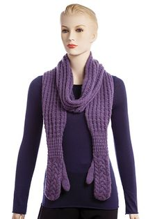 A beautiful cushy scarf knit in a reversible brioche-style thermal rib ends with cozy cabled mittens. Design is made using 685 yds of DK-weight yarn and is worked as 2 sides beginning in the center with a provisional cast-on. Scarf portion is worked ...