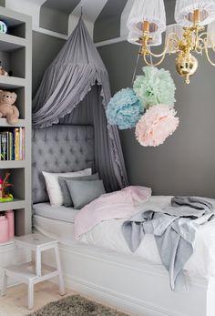 Grey classy kids bedroom