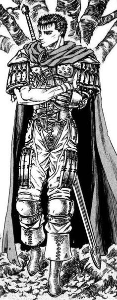 Guts from Berserk, looking peaceful next to the tree.