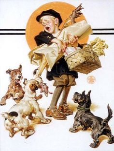 """Barking Up The Wrong Turkey"" by Joseph Christian Leyendecker (most likely for The Saturday Evening Post)"