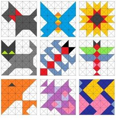 Easy Triangle Quilting Patterns - Some Galleries of Half-Square Triangle Quilt Patterns Quilt Blocks Easy, Easy Quilt Patterns, Patchwork Patterns, Patchwork Quilting, Quilting Tutorials, Quilting Projects, Quilting Designs, Half Square Triangle Quilts, Square Quilt