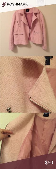 PINK WOOL MOTTO JACKET MY MOST PRIZED JACKET! This jacket is 100% wool. The jacket is actually lighter in person(look at the 2nd or 3rd picture for reference). Its very well made, stitching, quality.. etc! It has silver hardware. This jacket has two pockets, big enough to hold your phone. This jacket really is an eye catcher! Perfect for this cold weather. Also this style is no longer available on ASOS. ASOS Jackets & Coats Utility Jackets