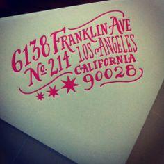 Hot pink letterpressed envelopes by Ladyfingers Letterpress