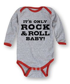 Look what I found on #zulily! Athletic Heather & Red 'It's Only Rock & Roll' Bodysuit - Infant #zulilyfinds