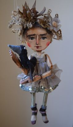 Girl with a Crow one of a kind Wooden Marionette Doll. $150.00, via Etsy.