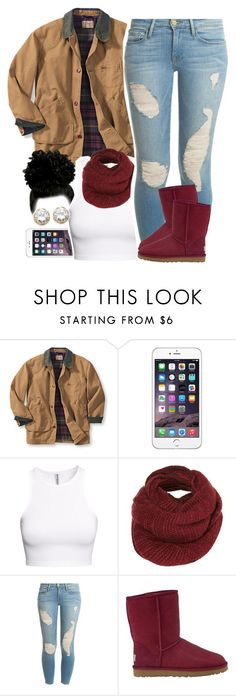 """Untitled #1536"" by lulu-foreva ❤ liked on Polyvore featuring H&M, Topshop, Frame Denim, UGG Australia and Kenneth Jay Lane"