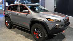 Jeep Cherokee Dakar with satin steel finish and mud tires. Jeep Cherokee Trailhawk, Jeep Cherokee Sport, Jeep Trailhawk, Jeep Cherokee Accessories, Orange Jeep, Jeep Concept, Concept Cars, Custom Jeep, Honda Civic Si