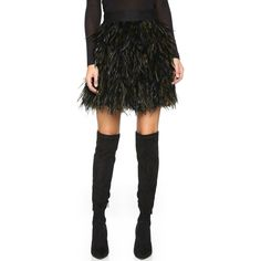 alice + olivia Cina Feather Flare Skirt ($500) ❤ liked on Polyvore featuring skirts, zipper skirt, knee length a line skirt, mesh panel skirt, wet look skirt and skater skirt