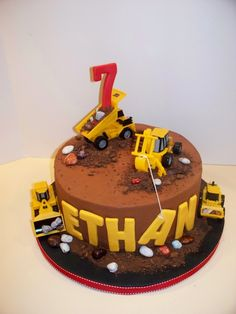 Construction Cake - Chocolate cake with choc sour cream icing and purchased toys. I seldom do cakes without fondant so I had a hard time getting it smooth enough. Digger Birthday Cake, Digger Cake, 2 Birthday Cake, Novelty Birthday Cakes, Birthday Ideas, Happy Birthday, Construction Theme Cake, Construction Birthday Parties, Cakes Without Fondant