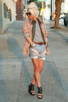 Layers! (Shorts: Vintage Levis. Shoes: Alexander Wang. Top: Saint James. Vest: Old Navy. Jacket: H&M. Sunglasses: Karen Walker. Belt: Gap. Jewelry: David Yurman, Gap, BR, Michael Kors, The Ropes, YSL.)