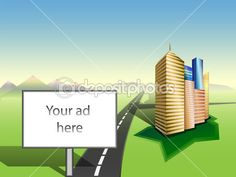 Copy space on Billboard. Cityscape. Road.