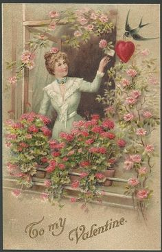 Vintage to My Valentine Postcard with Lovely Lady and Blue Bird with Flowers | eBay