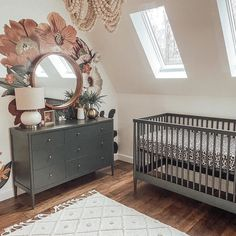 We love the clever ways we see our wall decals styled in the nursery, like these moody florals around this mirror. Design: @covenantcottage Floral Nursery, Nursery Neutral, Floral Wall, Nursery Room, Nursery Decor, Girl Nursery, Nursery Ideas, Boho Nursery, Nursery Inspiration