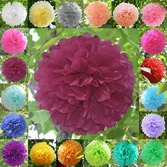 "£1.29 TtS 10""Inch(Burgundy) Tissue Paper Pom Poms Flower Handmade Wedding Party Decorations Balls: Amazon.co.uk: Kitchen & Home"