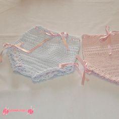 braguitas bebé en ganchillo (2) Crochet Dress Girl, Crochet Baby, Lip Gloss Containers, Baby Bonnets, Beautiful Crochet, Toddler Outfits, Baby Dress, Lace Shorts, Crochet Patterns