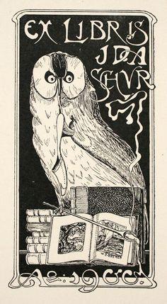 EX LIBRIS: Antique Book Plates : Art Nouveau Owl.  Ex Libris for Ida Schur. at Davidson Galleries