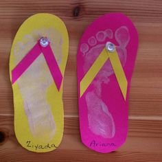 Flip flop footprint craft for pre-schoolers