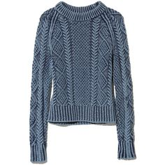 L.L.Bean Signature Signature Cotton Fisherman Sweater, Washed featuring polyvore, fashion, clothing, tops, sweaters, fisherman sweater, cotton sweater, ribbed sweater, pattern sweater and blue sweater