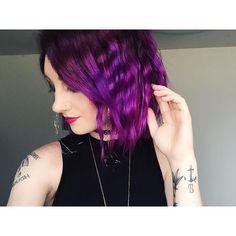 "Remember ""crimping"" irons? ✨ #overtone #purplehair #nars #crimpedhair"