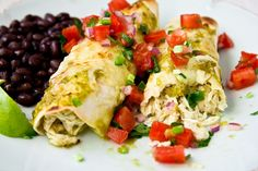 Crockpot Salsa Verde Chicken Enchiladas from Confections of a Foodie Bride