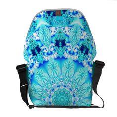 Aqua Lace, Delicate, Abstract Mandala Messenger Bags #mandala #dianeclancy