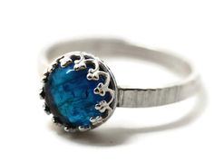 8mm Apatite Ring, Neon Blue Gemstone Ring, Natural Jewel Ring, Silver Birch Bark Ring on Etsy, $84.00