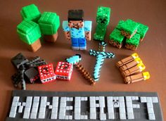 Fondant Minecraft Inspired Cake Toppers, she used food markers to look like pixels, clever