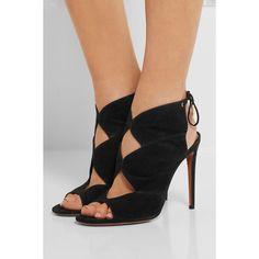 Aquazzura Pasadena cutout suede sandals ($540) via Polyvore featuring shoes, sandals, ankle wrap sandals, cut out sandals, black shoes, high heel sandals and black high heel shoes