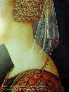 """1400s_veilbead1.jpg (480×640). From Cynthia Virtue's site.  The beaded edging on the veil fascinates me--it is very similar to one of the motifs in Turkish lace aka """"oya""""."""