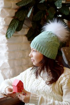 Hey, I found this really awesome Etsy listing at https://www.etsy.com/listing/217314905/mint-knit-hat-with-white-fur-pom-pom