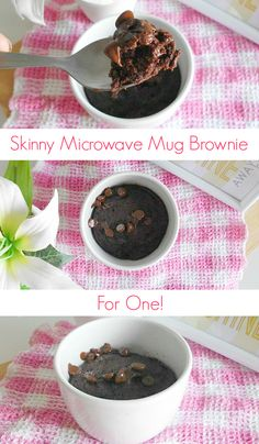 #Skinny Microwave Mug Brownie for One #Recipe - a quick and easy single-serving chocolate brownie that's made in the microwave in just a couple of minutes. It's practically fat-free, too. Only  160 calories for the whole thing! | www.pinkrecipebox.com