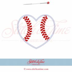 358 Valentine: Baseball Heart Applique 6x10